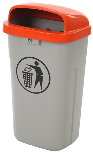 Vuurbestendige Afvalbak 50 L, Grijs/Oranje