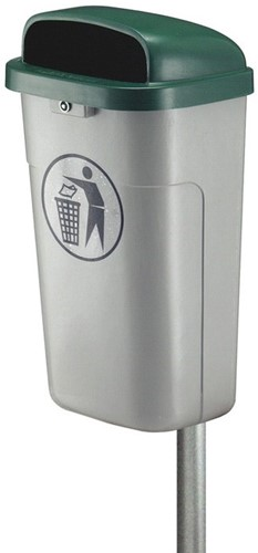 Vuurbestendige Afvalbak 50 L, Grijs/Groen