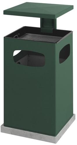 As-papierbak met afneembaar afdak, 80L, Groen