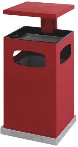 As-papierbak met afneembaar afdak, 80L, Rood