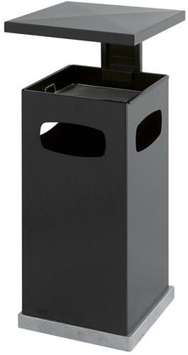 As-papierbak met afneembaar afdak, 70L, Zwart