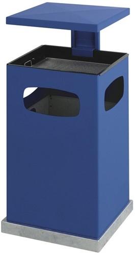 As-papierbak met afneembaar afdak, 80 L, Blauw