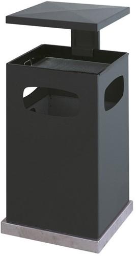 As-papierbak met afneembaar afdak, 80L, Zwart