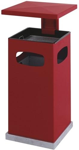 As-papierbak met afneembaar afdak, 70L, Rood
