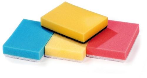 Gejoma Schuurspons met grip, Geel/Wit, 70 x 145 x 43 mm 5 st