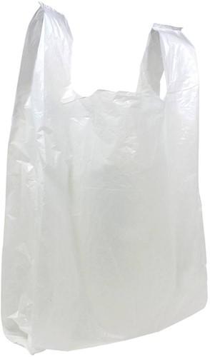 Plastic Hemd Draagtassen Wit, 27/6 x 48 cm 2000 stuks
