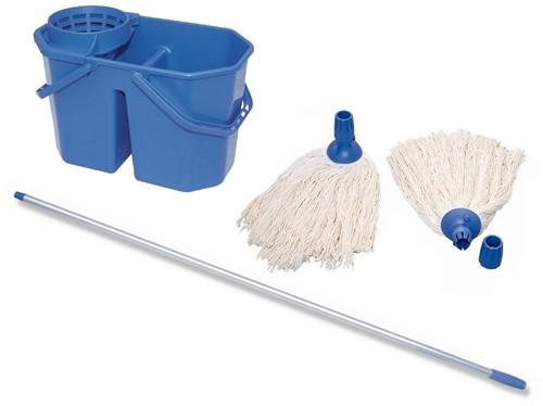 Gejoma Complete Mop set ( Spaanse mop, Aluminium Steel en Mopemmer Dubbel)