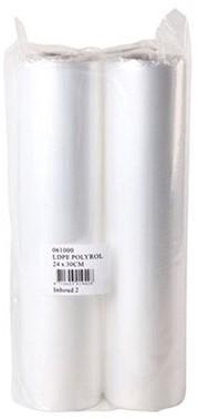 Slagersfolie, LDPE Polyrol, 24cm x 30m pak á 2 rollen